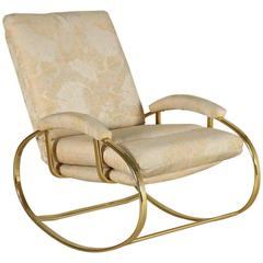 Rocking Chair Brass-Plated Metal Foam Padding Fabric Upholstery, Italy, 1980s