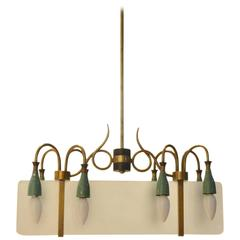 Italian Mid-Century Chandelier Sanded Glass Diffuser and Organic Brass Structure
