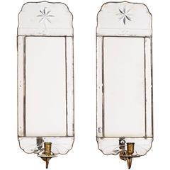 Pair of Swedish Late Barock Mirror Girandoles, 18th Century