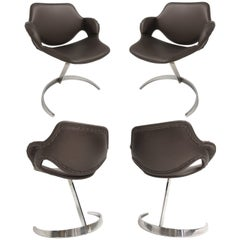 Stunning Set of Four Boris Tabacoff 'Scimitar' Chairs for MMM, France, 1960s