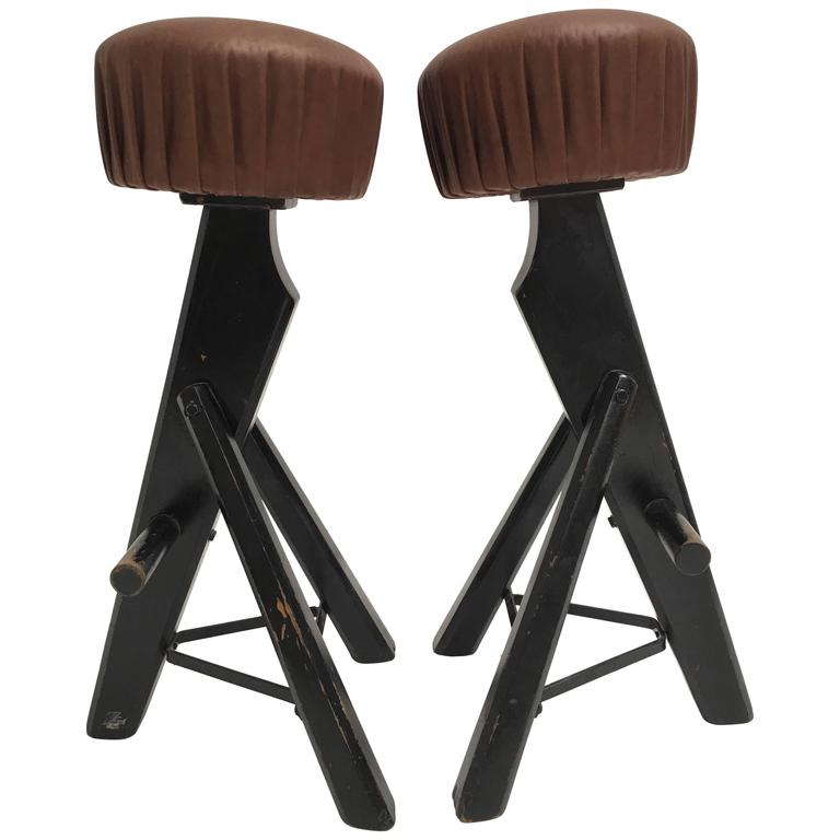 Pair Of Brutalist Black Stained Solid Oak And Brown Leather Bar Stools 1970s