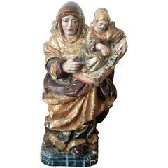 Spanische Figur Heilige Anna mit dem Kind Maria Geschnitzt & Polychrom Bemalt 16. Jahrhundert