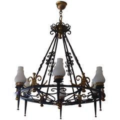 Hughes 1940 Chandelier, Wrought Iron and Brass Opal Glass