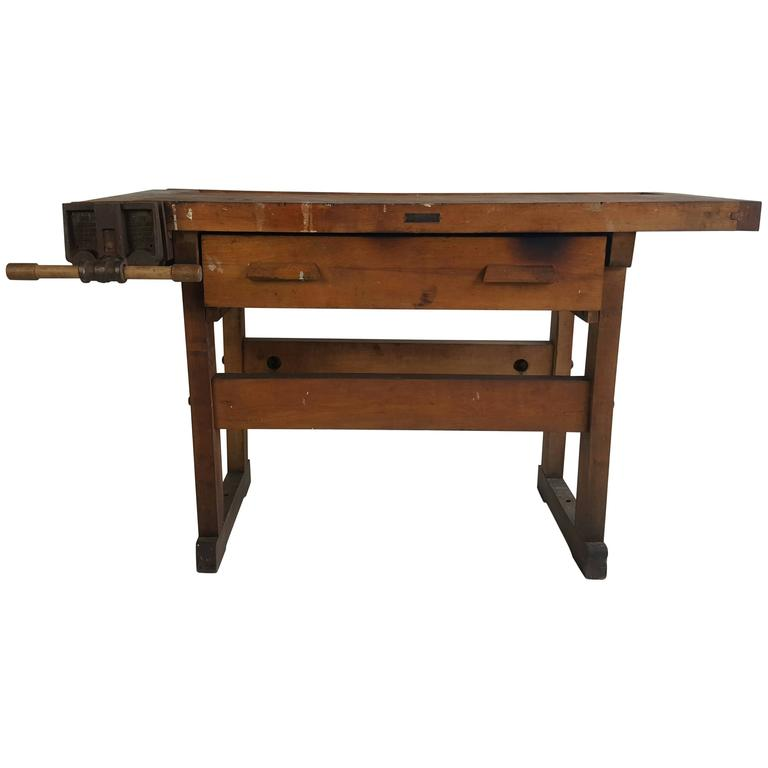 Small Industrial Work Bench C Christiansen Abernathy Vice