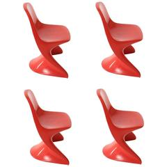 Set of Four Red Casalino Children's Stacking Chairs, 1977