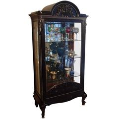 1880s Black Oak Cabinet with Carved Ornaments Original Silver Chrome Mirror