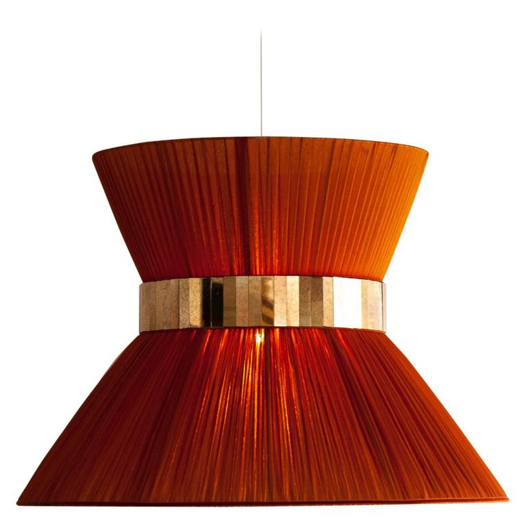 Tiffany contemporary Hanging Lamp 60cm rust Silk Silvered Glass brass Canopy