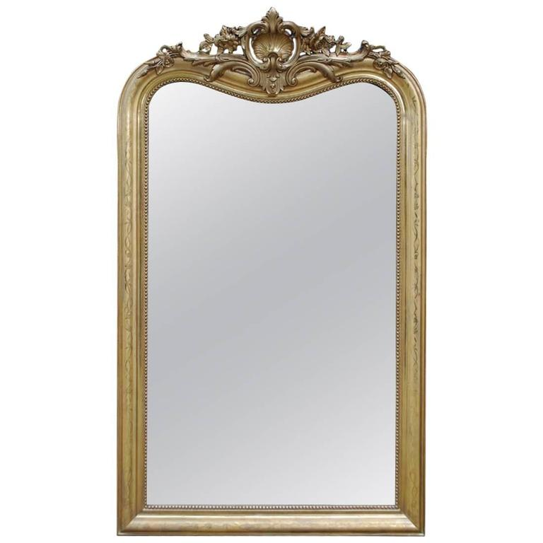 19th-century French Louis Philippe gold leaf gilt mirror with crest For Sale