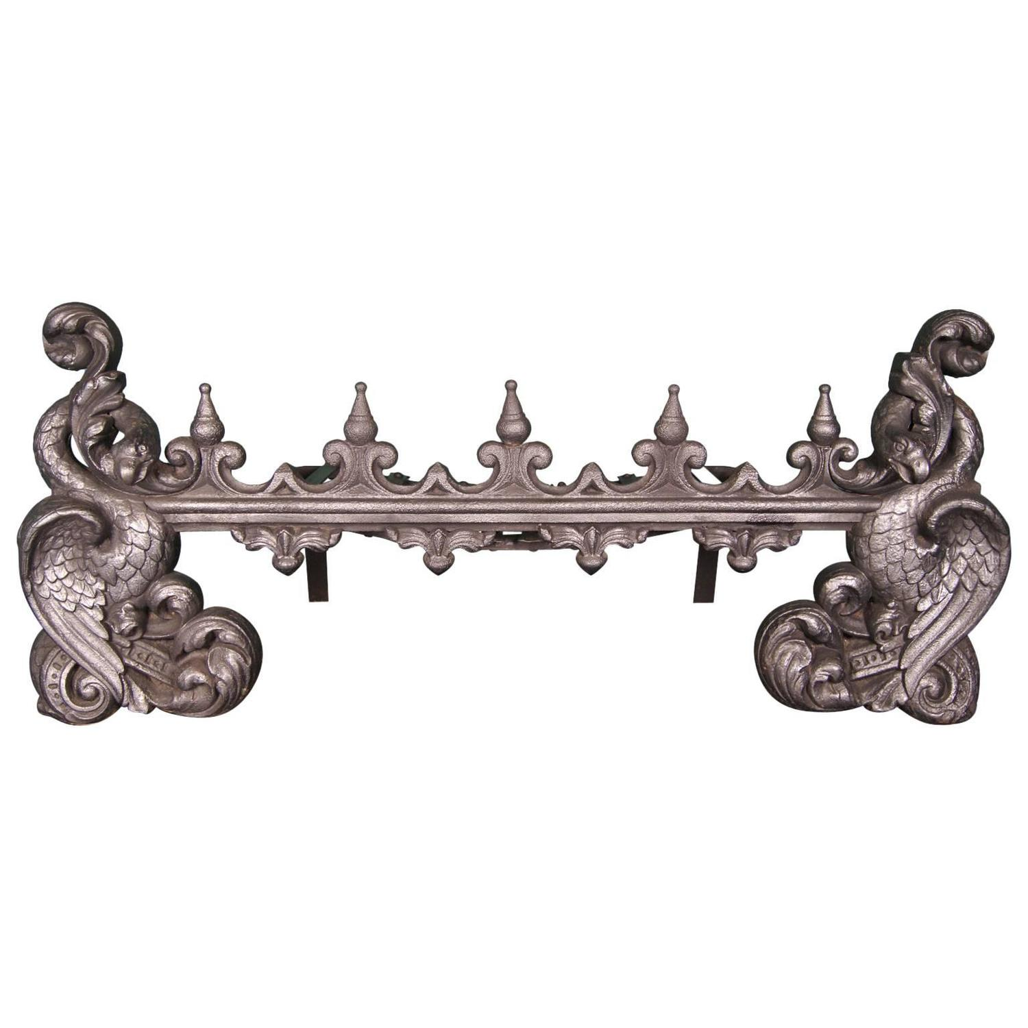 Large Cast Iron Baronial Fireplace Fire Grate For Sale At 1stdibs