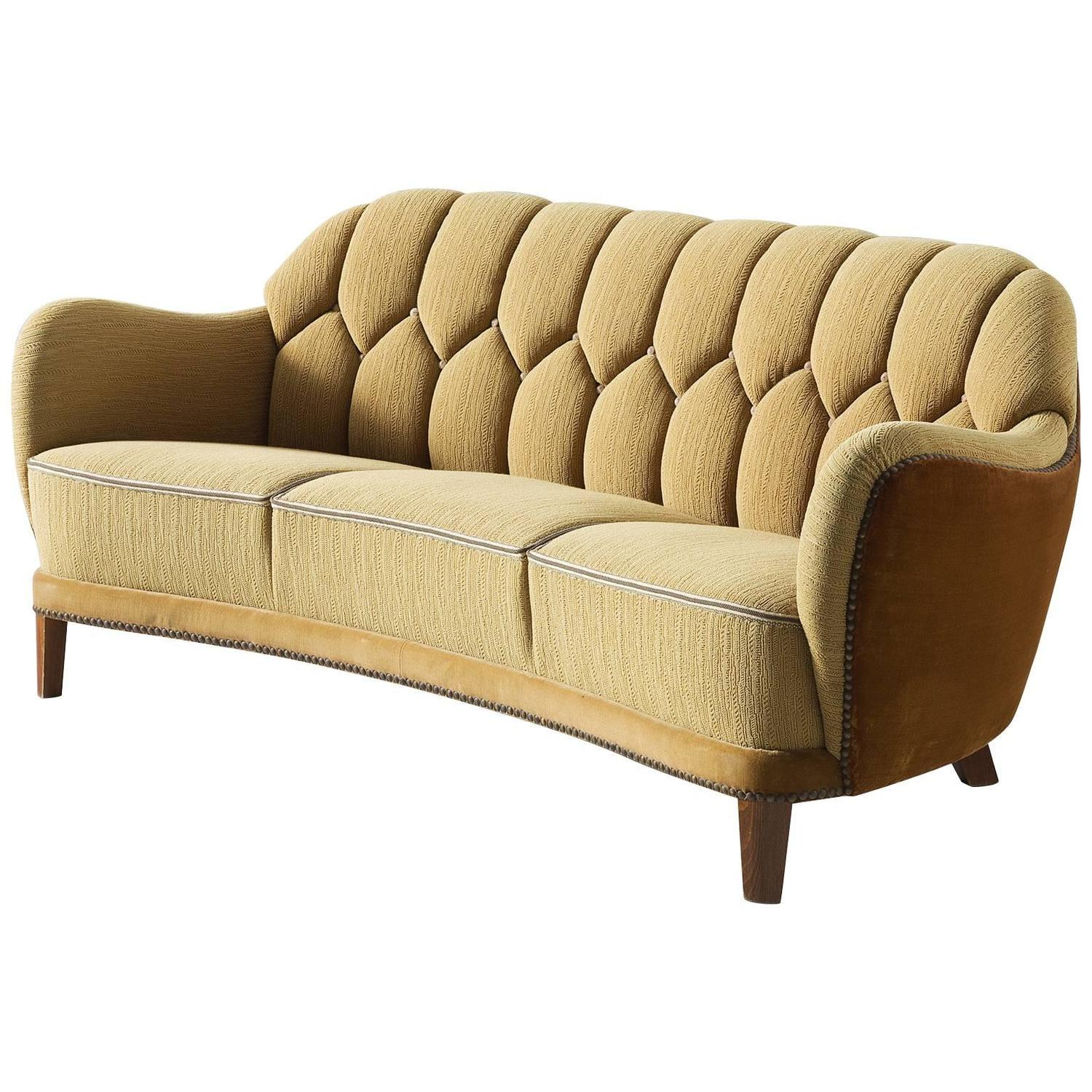 Danish Curved Sofa In Yellow And Brown Velours For Sale At