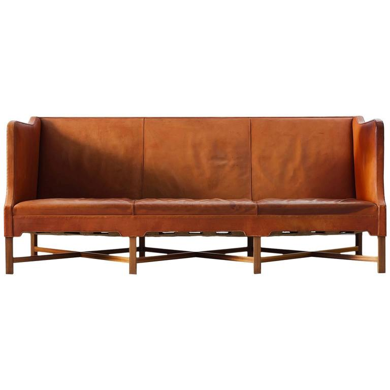 kaare klint early sofa in cognac leather for rud rasmussen. Black Bedroom Furniture Sets. Home Design Ideas
