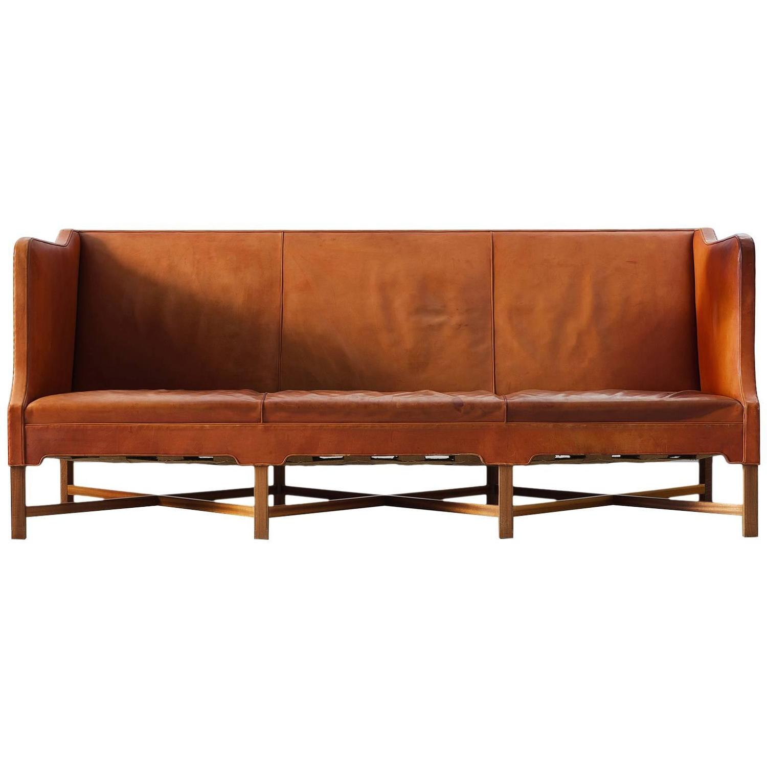 kaare klint early sofa in cognac leather for rud rasmussen for sale at 1stdibs. Black Bedroom Furniture Sets. Home Design Ideas