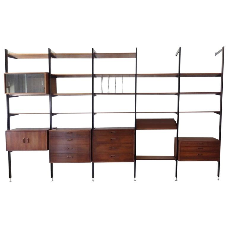 Large Five Bay George Nelson Omni Wall Shelf System For