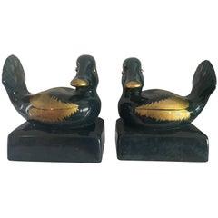 Italian Ceramic Gump's Duck Bookends