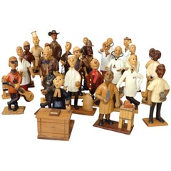 Large Collection of 42 Whimsical Carved Italian Figures