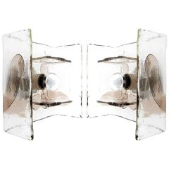 Two Carlo Nason Flush Mounts or Sconces, Smoke Glass, Mazzega, Italy, 1970s