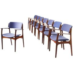 Erik Buck Set of Eight Dining Chairs in Rosewood and Blue Fabric Upholstery