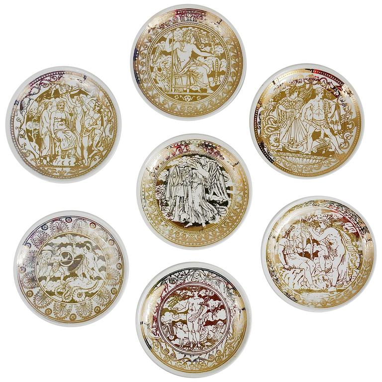 Set of Seven Piero Fornasetti Mitologia Gilded Porcelain Coasters, Italy, 1950s For Sale