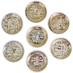 Set of Seven Piero Fornasetti Mitologia Gilded Porcelain Coasters, Italy, 1950s