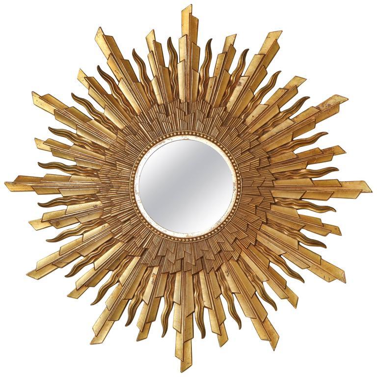 Mid Century Modern Gold Starburst Sunburst Framed Mirror
