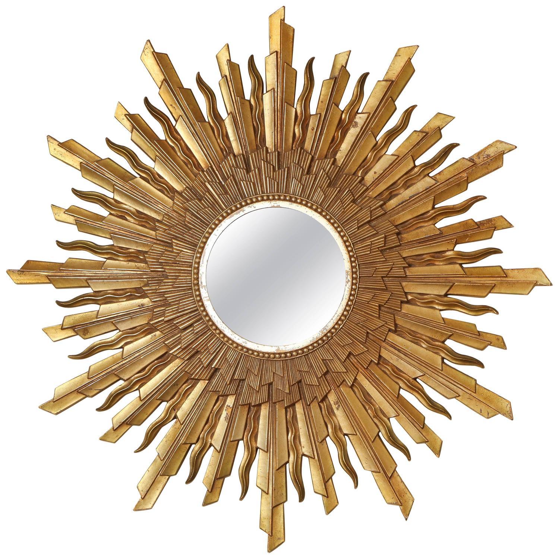 Mid century modern gold starburst sunburst framed mirror for Sunburst mirror