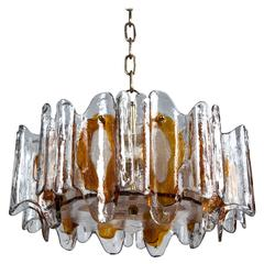 Kalmar Textured Orange Glass Chandelier, Circa 1970