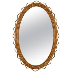 Large 1950s Saint-Tropez Bamboo Oval Mirror with Geometric Design