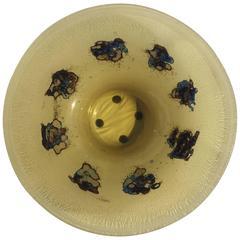 Large Italian Scavo Style Glass Vessel Bowl Signed Barbini Murano