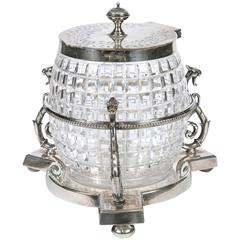 English 1860 Crystal Biscuit Jar with Three Serpents on Silver Plated Stand