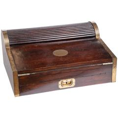 Antique 1830 Wooden Tambour Campaign Lap Roll Top Desk