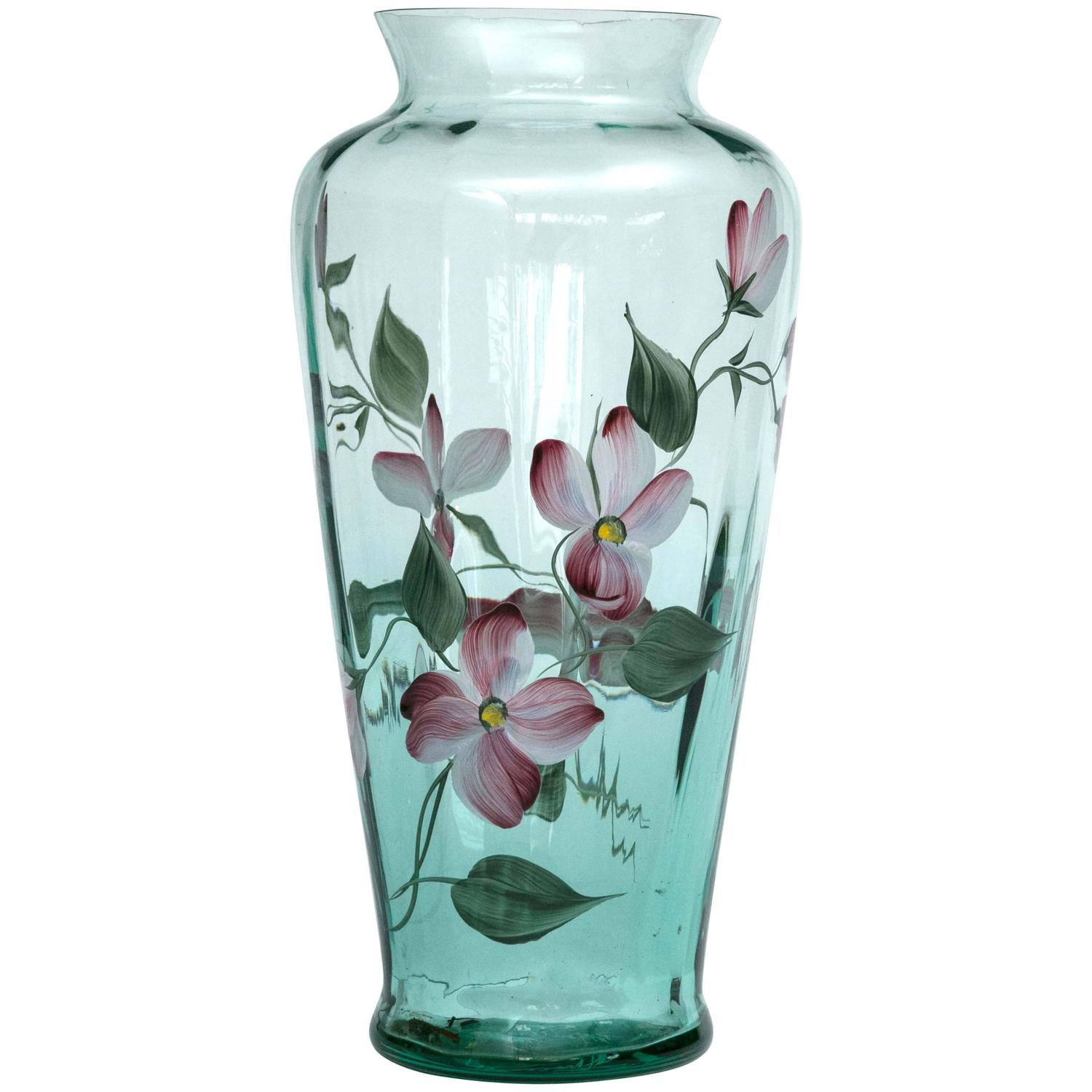 Fenton art glass hand painted vase signed fenton hand for Anderson art glass