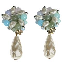 """In the Style of Miriam Haskell Hand Beaded Baroque Style Drops """"of the Sea"""""""