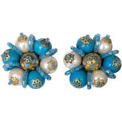 """Pair of Vintage """"Blue Bayou"""" Bead Decorated Earrings"""
