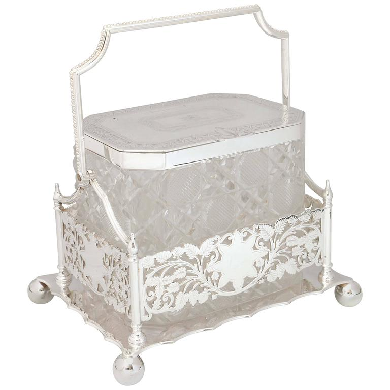Beautiful Victorian Hobnail Cut Crystal Biscuit Barrel in Sheffield-Plated Stand For Sale