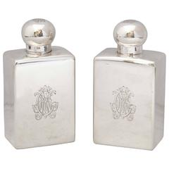 Pair of Edwardian, French All Sterling Silver Cologne Bottles