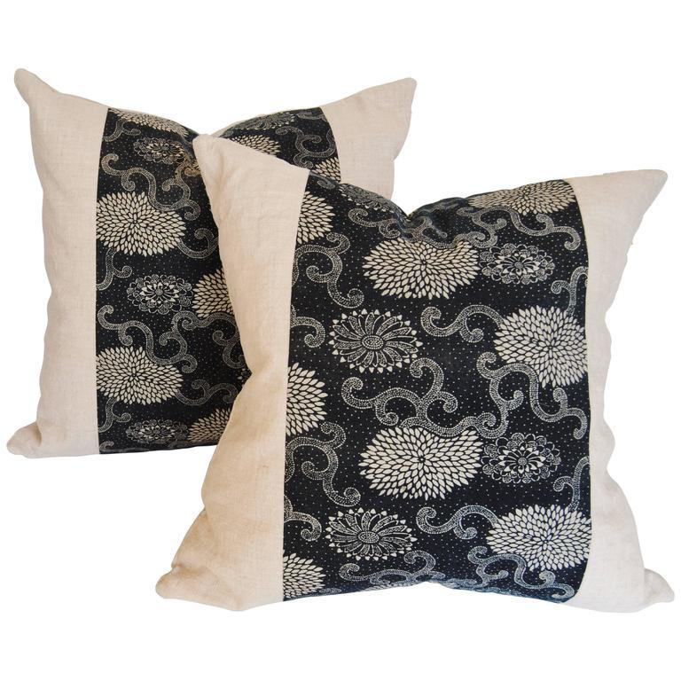 Custom Pair of Pillows Cut from an Antique Japanese Indigo Katazome Textile