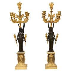 Pair of French Empire Gilt Bronze Candelabra, circa 1810