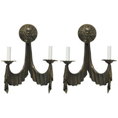 Pair of Draped Wall Sconces in Brass