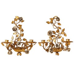 Pair of Italian Painted Floral and Gilt Metal Wall Sconces with Two Candle Arms