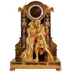 Rare Gilt Bronze Half Skeleton Mantel Clock Signed Sicart & Bernard, Paris