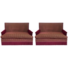 Pair of Mohair and Silk Striped Sofa's