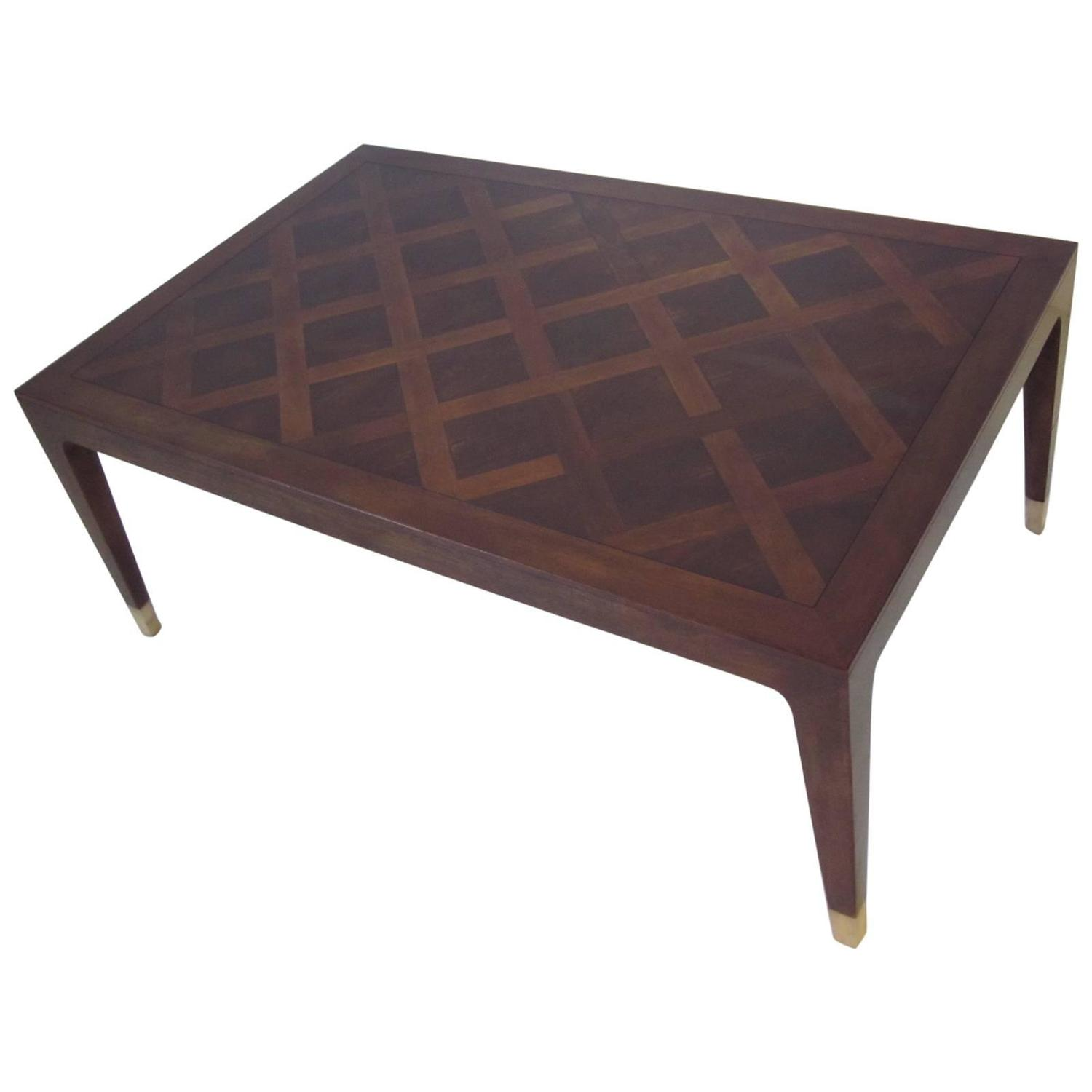 Parquet Styled Mahogany And Walnut Coffee Table In The Manner Of Gio Ponti At 1stdibs