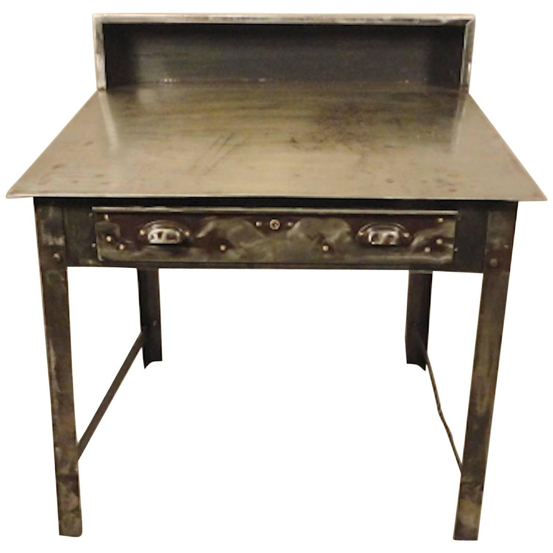 Refinished Industrial Factory Slant Desk For Sale at 1stdibs
