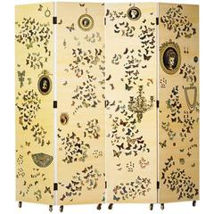 "Rare Trompe l'oeil ""Farfalle"" Four-Panel Folding Screen by Piero Fornasetti"