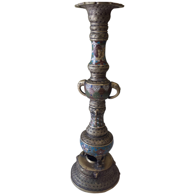 Bronze Champlevé Buddhist Temple Altar Candle Holder Meiji Period