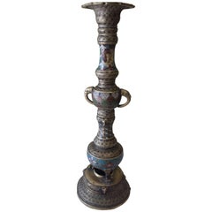 Bronze Champlevé Buddhist Temple Altar Candle Holder Meiji Period