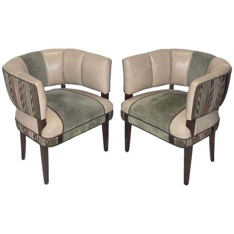 Pair of Curvaceous Chairs Designed by Gilbert Rohde For Sale