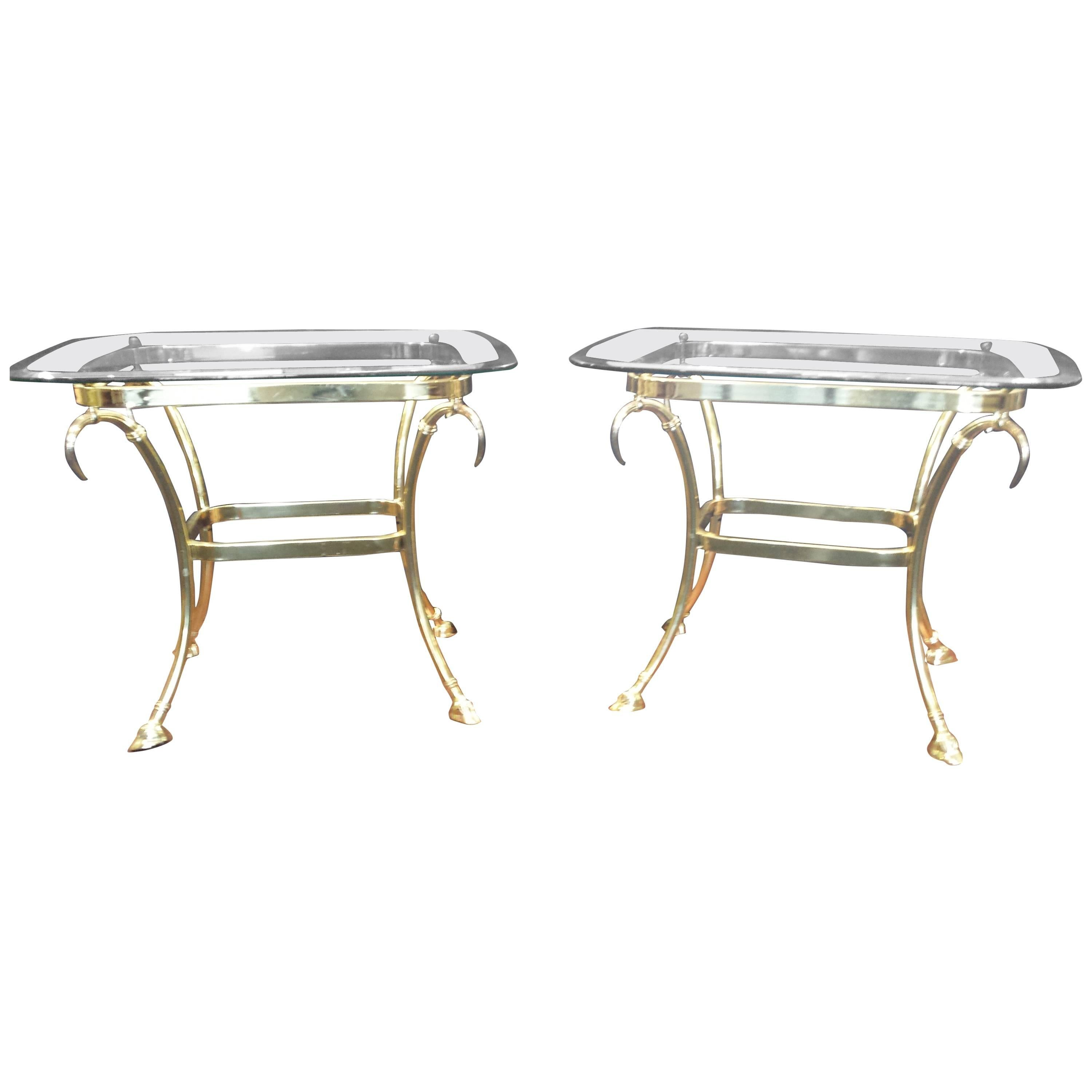 Pair of Hollywood Regency Brass and Glass Side Tables