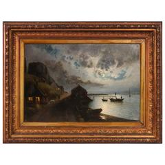 Antique Danish Painting on Canvas of a Moonlit Fishing Village, circa 1840