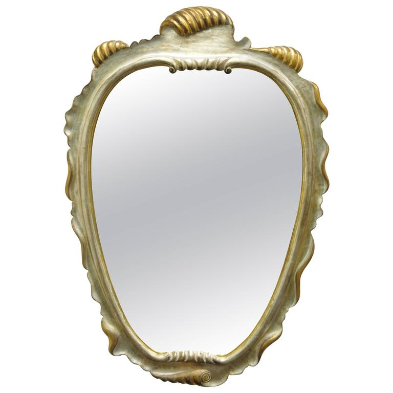 Italian Hollywood Regency Gold and Silver Giltwood Mirror after Dorothy Draper For Sale